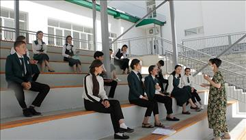 Safe Outdoor Classes at the Aga Khan Lycee in Khorog, Tajikistan